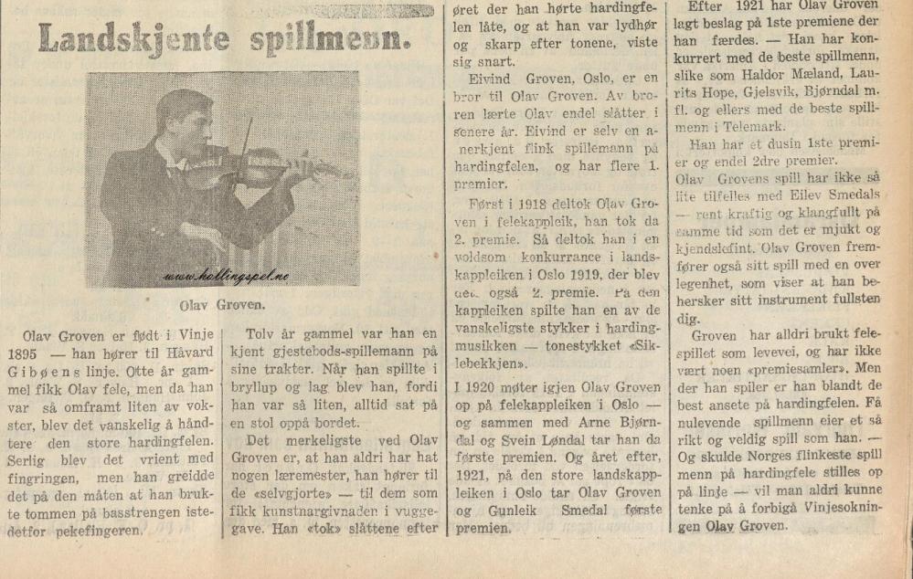 Olav Groven Teledølen 1926